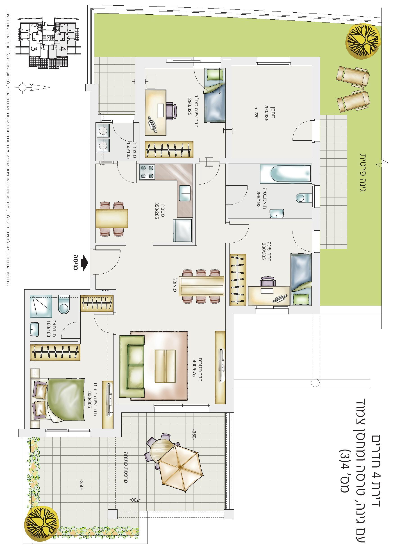 דירת 4 חד' עם גינה, טרסה ומחסן צמוד - דירה מס' 3